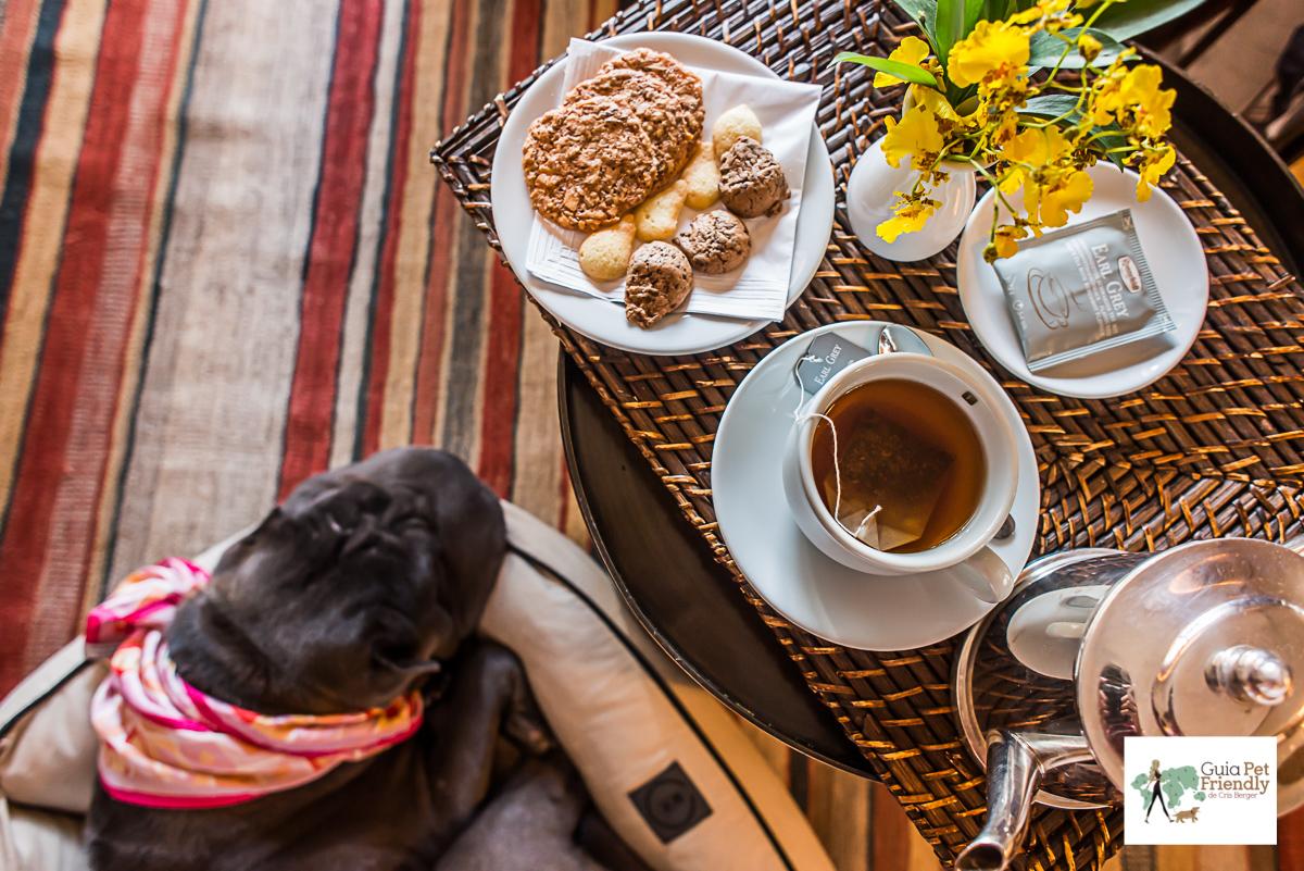 chá, biscoitos e cachorro