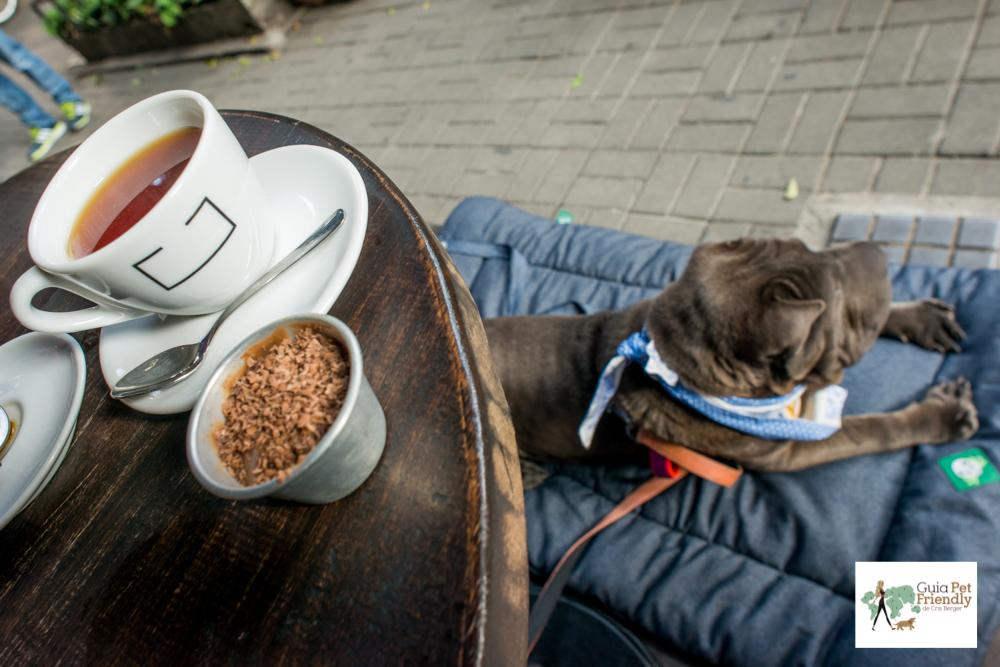 chá, brigadeiro e cachorro deitado