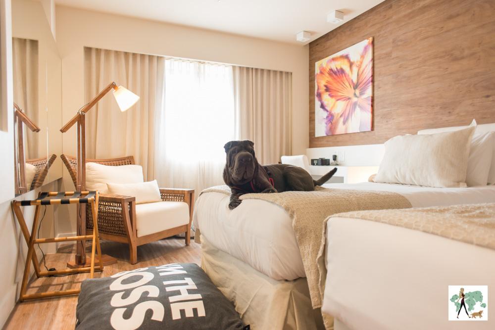 cachorro deitado em cima da cama de hotel