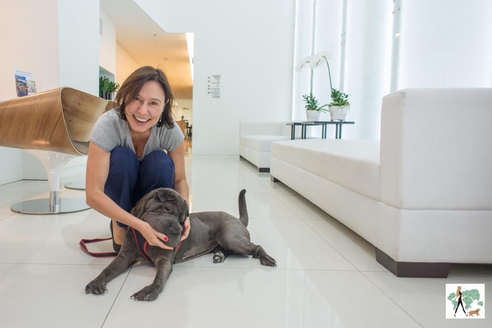 cachorro e mulher brincando