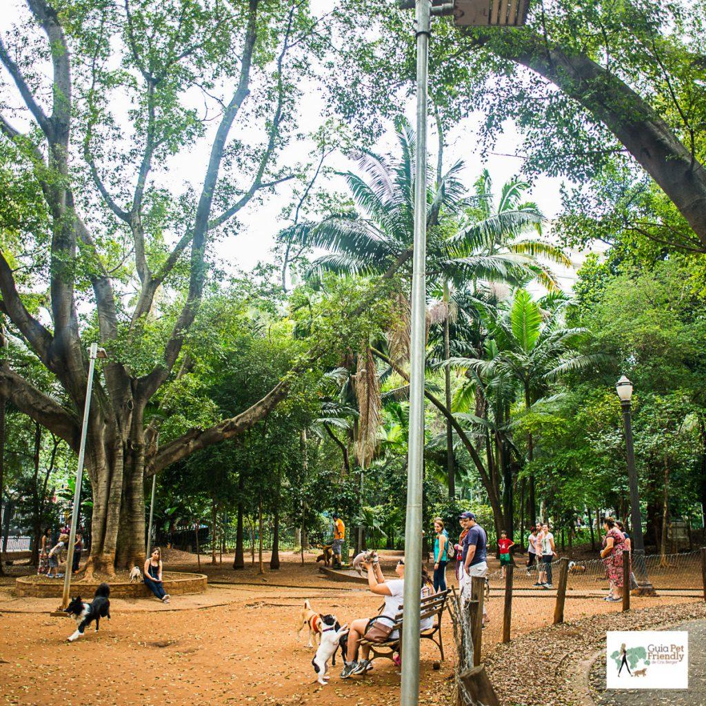 pessoas com cachorros em parque