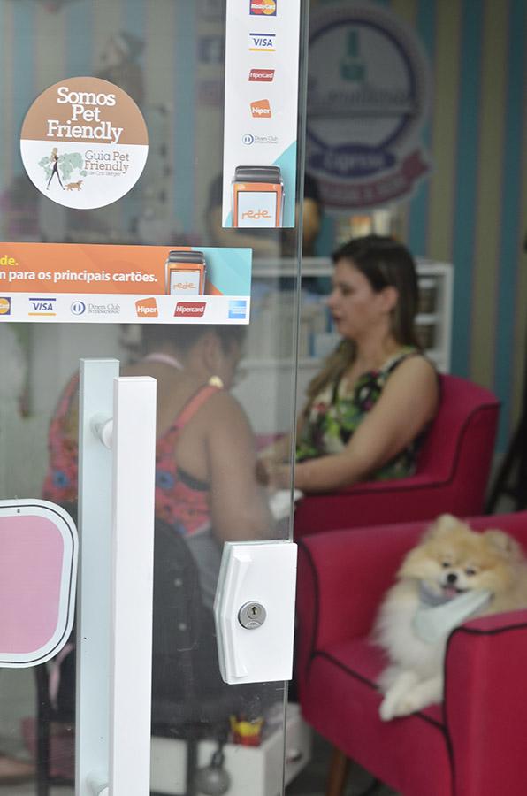 porta de vidro com adesivos e cachorro e mulher sentados ao fundo em cabeleiro