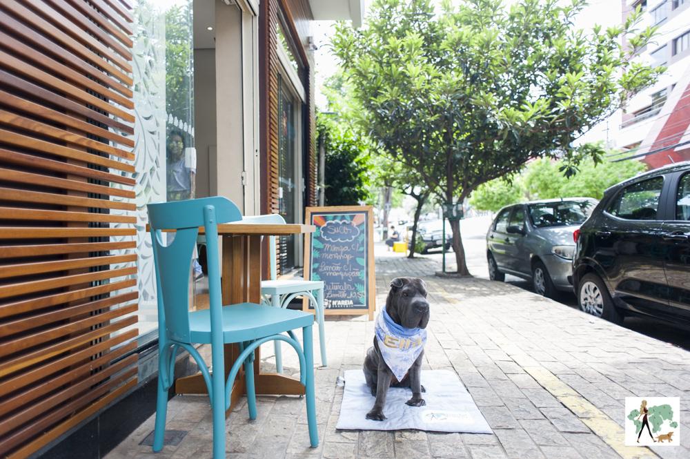 cachorro sentado ao lado de mesa na calçada da creperia N'Areia