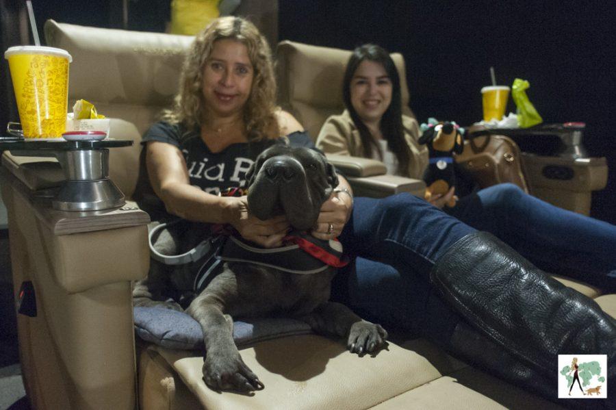 mulheres com cachorro dentro do cinema