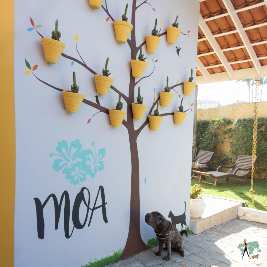 cachorro sentado ao lado de parede com a pintura de uma árvore