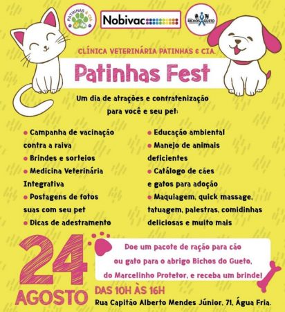 convite do evento patinhas fest
