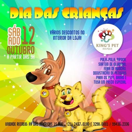 convite do dia das crianças no kings pet