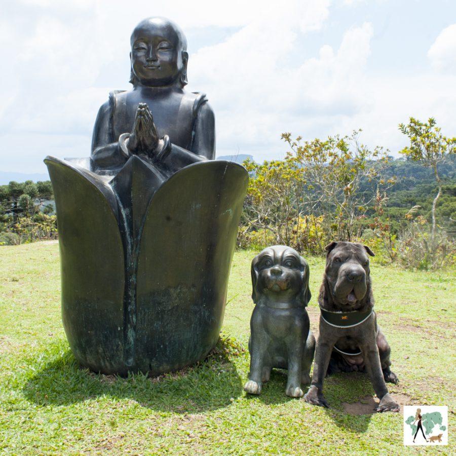 estátua de um buda e cachorro, com um cachorro de verdade ao lado