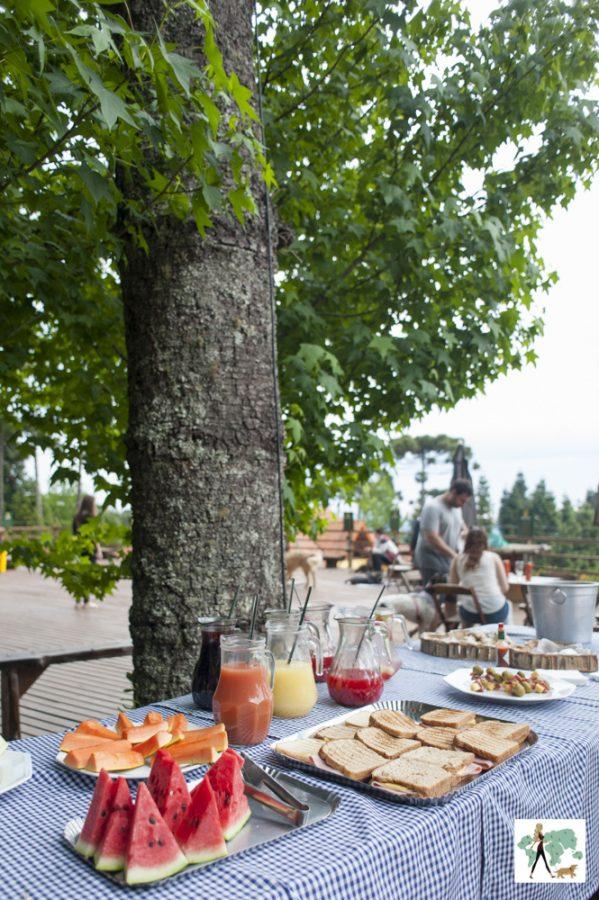 mesa com frutas e sanduíches